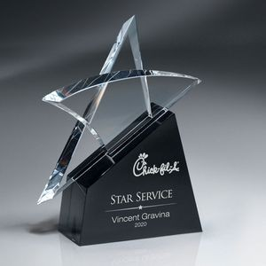 Optic Crystal Erupting Star Award - Large (Includes Silver Color-Fill)